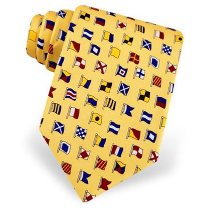 8216 TIE SILK CODE FLAGS YLW