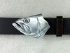 Bass fish face buckle in sterling shown on 1.25 belt
