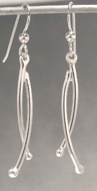 Branch Earrings with Intertwined Branches in Sterling Silver