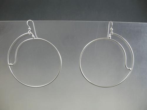 Closed Side Spiral 50mm Crashing Waves Series Hoop Earrings in Sterling Silver