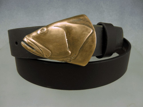 "Grouper in bronze with brown patina shown on an 1 1/4"" belt sold separately. fits up to 1 1/2"" belt Each one comes out differently."