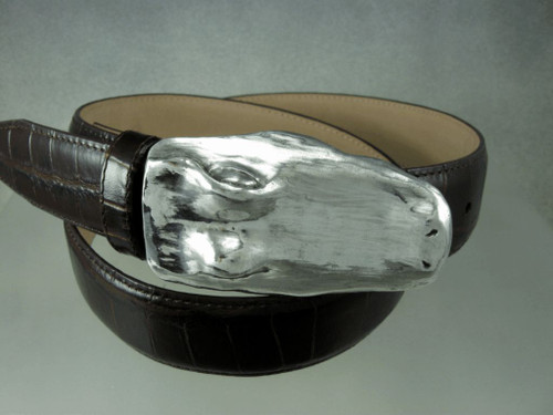 Alligator buckle with smooth texture shown on a real gator belt sold separately. Shown with polished finish