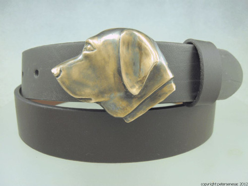 Labrador retriever belt buckle in Bronze with brown patina