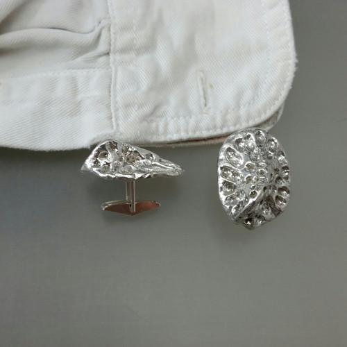 Solid sterling silver alligator scute cuff links
