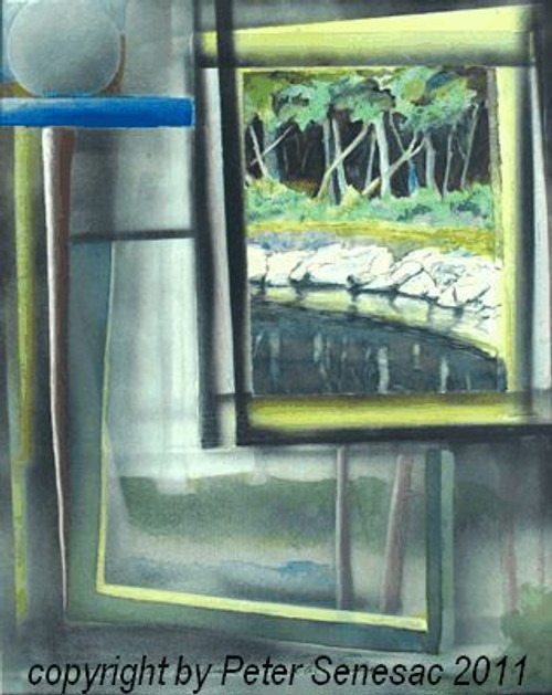 Painting of 'Bass Lake Daydream' in Mixed Media and Collage