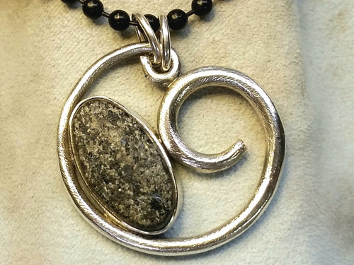 , beachcomber beach pebble sterling pendant comes on a black cotton cord