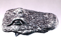 White bronze textured gator with natural patina and polished finish