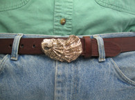 oyster shell buckle in bronze for 1.25 belts