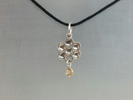 Bee hive Honey comb pendant with 5 mm citrine dangle