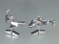 Sharks Circling cuff links in sterling