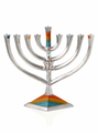 Lily Art Metal Menorah - Diamond Design 9""