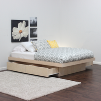 King Platform Bed With 4 Drawers On Tracks In Birch