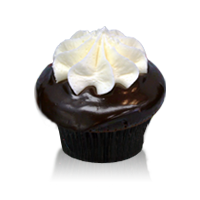 Chocolate cake with a creamy marshmallow filling dipped in chocolate ganache with more filling on top