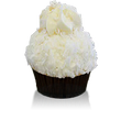 Luscious Italian cream cake and cream cheese icing topped with toasted coconut