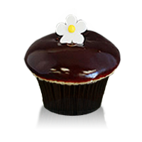 Madagascar bourbon vanilla cake filled with bavarian cream, dipped in ganache topped with a fondant flower