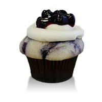 Fresh blueberry cake with cheesecake baked inside topped with cream cheese frosting and blueberry garnish