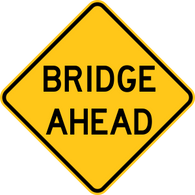 Bridge Ahead Warning Trail Sign Yellow