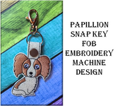 In The Hoop Papillion Key Fob Embroidery Machine Design