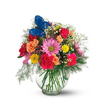 Butterfly and Blossoms Vase