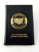Office of Air and Marine Embossed Dress Leather Badge and Credential wallet with Logo Medallion
