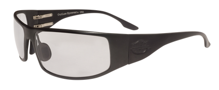 OutLaw Eyewear Fugitive TAC Aluminum Military and Motorcycle aluminum sunglasses, Black frame with Extra Dark Transition Day-night lenses. Good for skydiving too.