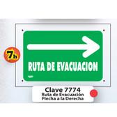 7774 SEÑAL  ELITE RUTA DE EVACUACION HACIA LA DERECHA