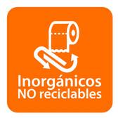 ETIQUETA DE VINIL AUTOADHERIBLE NARANJA PARA RESIDUOS INORGÁNICOS NO RECICLABLES NORMA AMBIENTAL CDMX