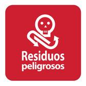 ETIQUETA DE VINIL AUTOADHERIBLE ROJO PARA RESIDUOS PELIGROSOS NORMA AMBIENTAL CDMX