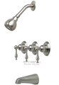 Premier 120142 Wellington Three-Handle Tub & shower Faucet Brushed Nickel