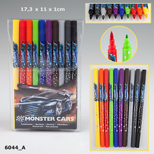 Create Your Monster Cars Pack Of Double Ended Felt Tip Coloured