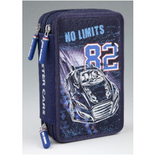 Monster Cars Filled Triple Pencil Case Silver Outline The