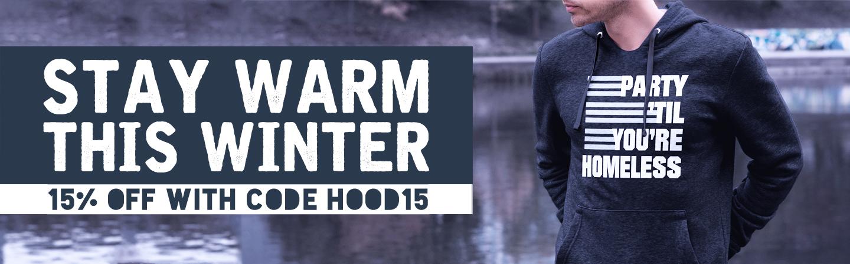 15% off hoodies with code HOOD15
