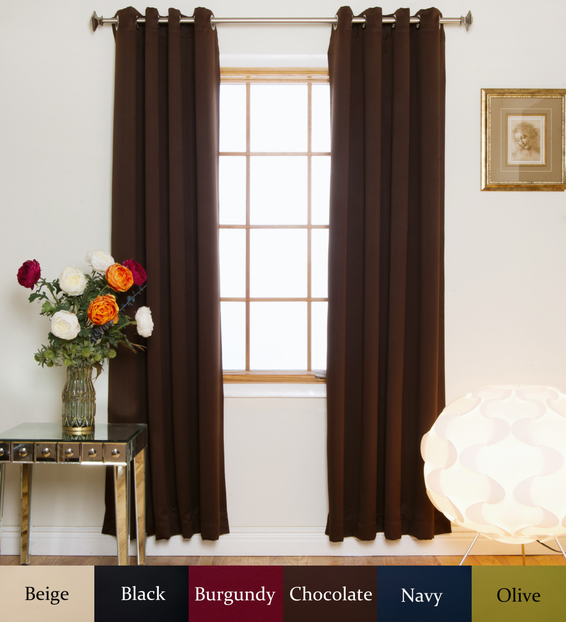 nickel grommet top energy saving thermal insulated blackout curtain 96 inch length pair. Black Bedroom Furniture Sets. Home Design Ideas