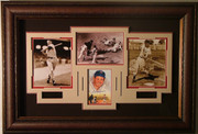 Ted Williams Autographed 5x7 Print Custom Framed w/ 3 additional B&W Photos