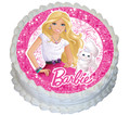 Barbie and Cat 16cm Round licensed topper