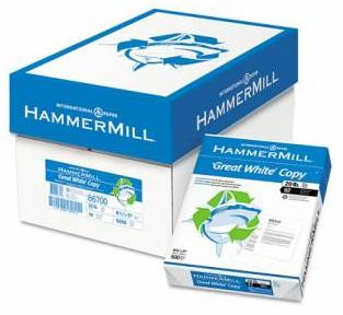 Hammermill Recycled Great White Copy Paper,  8 1/2'' x 11'', 20 lb,  Carton/5,000 Sheets