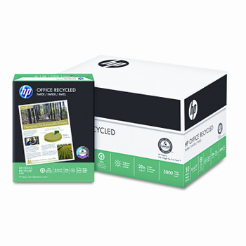 Hewlett Packard Recycled Office Paper,  8 1/2'' x 11'', 20 lb, 30% PCR,  Carton/5,000 Sheets