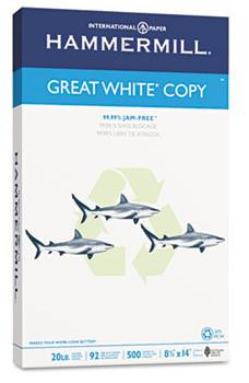 Hammermill Great White Copy Paper,  8 1/2'' x 14'', 20 lb, 30% PCR,  Ream/500 Sheets