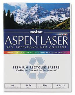 Boise Aspen Recycled Laser Paper 8 1/2'' x 11'', 24 lb Writing