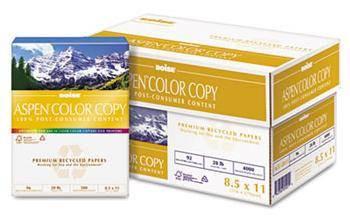 Boise Aspen Recycled Color Copy Paper 8 1/2'' x 11'', 28 lb Bond