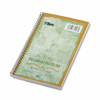 Second Nature Subject Wirebound Notebook, Narrow Rule, 5 x 8, WE, 80 Sheets, 40% Post-Consumer Recycled Content