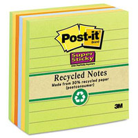Post-it Super Sticky Recycled Note Pads, LINED, 4x4, Natures Hue 's, 90 Sheets per Pad, 6 Pads per Pack (675-6SSNRP)