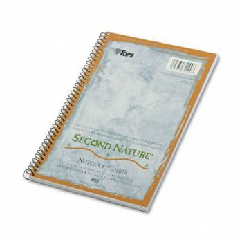 Second Nature Subject Wire Notebook, College Rule, 6 x 9-1/2, WE, 80 Sheets, 100% Post-Consumer Recycled Content