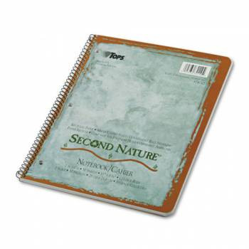 Second Nature Subject Wirebound Notebook, College Rule, Ltr, WE, 50 Sheets, 40% Post-Consumer Recycled Content
