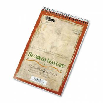 Second Nature Spiral Reporter/Steno Notebook, Gregg Rule, 6 x 9, WE, 80-Sheet, 40% Post-Consumer Recycled Content