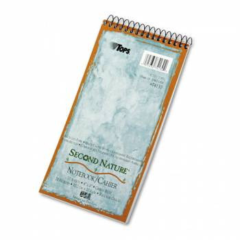 Second Nature Spiral Reporter/Steno Notebook, Gregg Rule, 4 x 8, White, 70-Sheet, 40% Post-Consumer Recycled Content