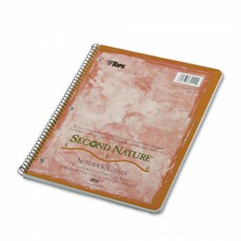 Second Nature Subject Wirebound Notebook, College Rule, Ltr, WE, 80 Sheets, 40% Post-Consumer Recycled Content