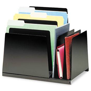 Steelmaster Slanted Combination Desk Organizer, 8 Sections, Steel, Black