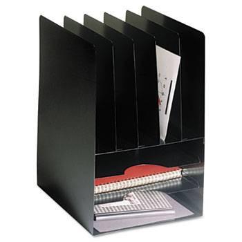 Steelmaster Compact Combination Desk Organizer, 8 Sections, Steel, Black