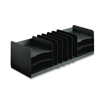 Steelmaster Adjustable Desk Organizer, 11 Sections, Steel, Black